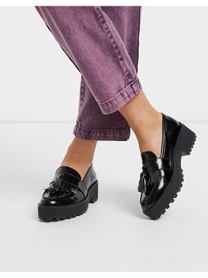 Monki faux leather chunky platform loafers in black