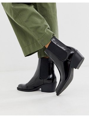 Monki faux leather heeled boots with pointed toe in black