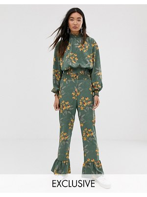 Monki floral print frill hem pants in green
