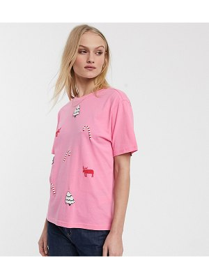 Monki holidays t-shirt in pink