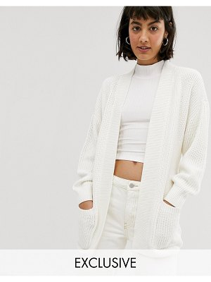 Monki knitted tie waist longline cardigan in white