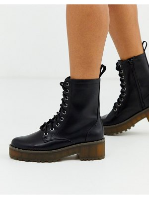 Monki lace up faux leather lace up boots in black