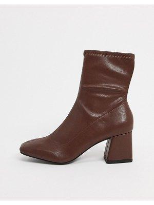 Monki leia vegan leather ankle boots in brown