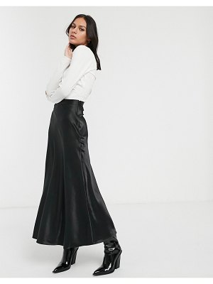 Monki midi satin skirt in black