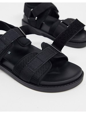Monki misha recycled polyester sporty sandals in black