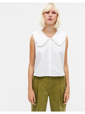 Monki mona organic cotton poplin collar blouse in white