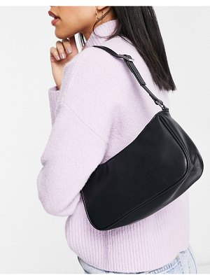Monki odessa faux leather shoulder bag in black