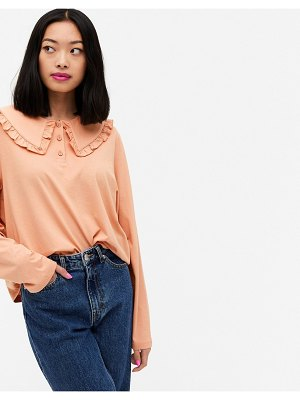 Monki pari organic cotton long sleeve top with collar in pink