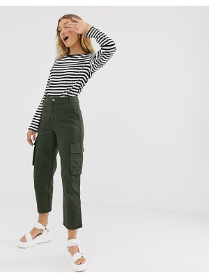 Monki peg cargo pants in khaki-green