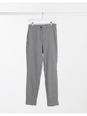 Monki petra recycled slim pants in houndstooth-multi