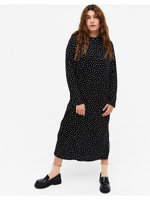 Monki pia dot print long sleeve midi dress in black