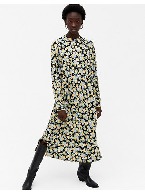 Monki pia floral print long sleeve midi dress in multi