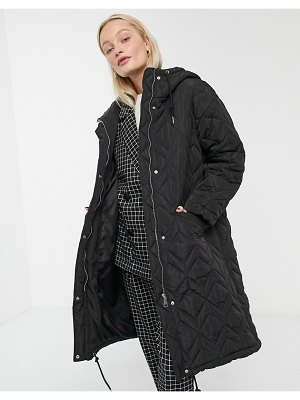 Monki quilted hooded midi coat in black