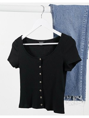 Monki quinny organic cotton button front t-shirt in black-shirt