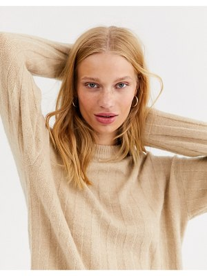 Monki ribbed crew neck sweater in beige-white