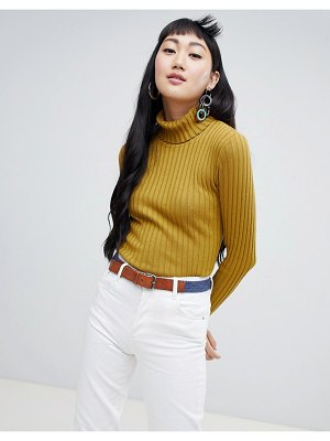 Monki ribbed high neck sweater in yellow
