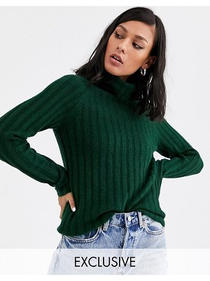 Monki ribbed knitted roll neck sweater in dark green