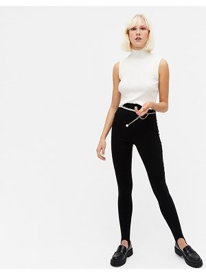 Monki sarah stirrup leggings in black