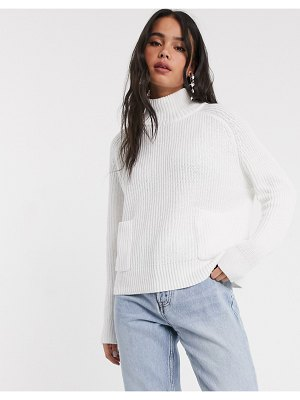Monki silvia sweater with open back in white