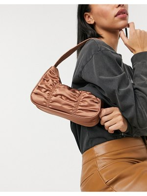 Monki tanya recyled satin shoulder bag in brown