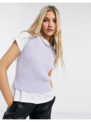 Monki tea sleeveless knitted tank in lilac-purple