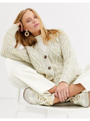 Monki textured cropped cardigan in dark cream
