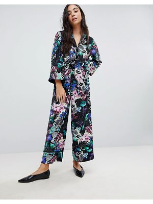 Monki Tropical Floral Print Wide Leg Pants