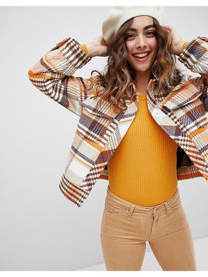 Monki trucker jacket in brown check print-orange