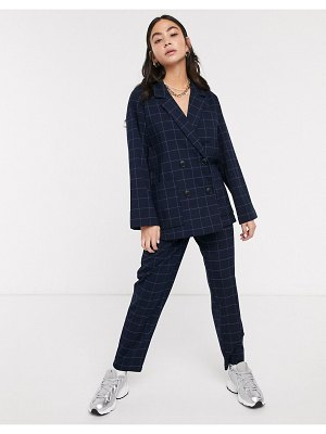 Monki two-piece check tapered pants in dark navy-blue