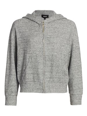 MONROW brushed thermal hooded zip sweatshirt