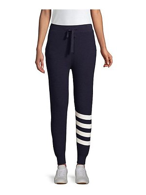 MONROW cashmere-blend sporty striped sweatpants