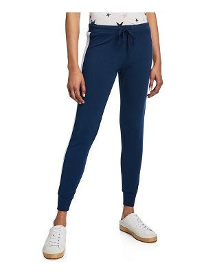 MONROW Star Elastic Side-Stripe Drawstring Skinny Sweatpants