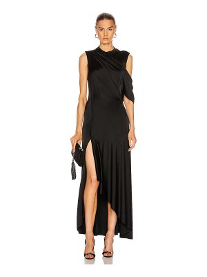 Monse asymmetrical drape shoulder gown