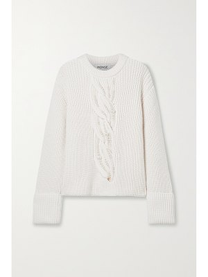 Monse faux pearl-embellished cable-knit merino wool sweater