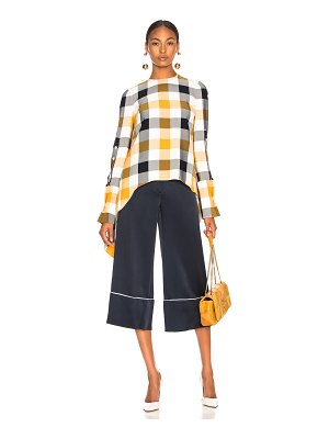 Monse Gingham Button Sleeve Top