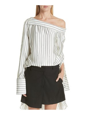 Monse off the shoulder pinstripe silk blouse