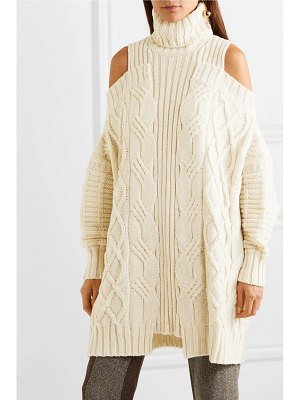 Monse oversized cold-shoulder cable-knit wool turtleneck sweater