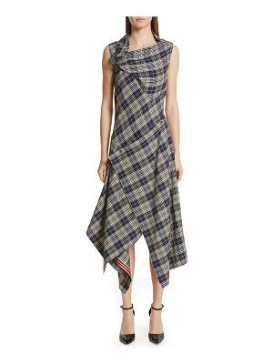 Monse plaid asymmetrical midi dress