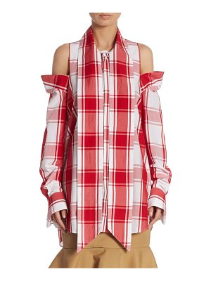 Monse plaid cold-shoulder top