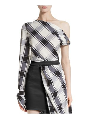 Monse plaid stretch silk one-shoulder top