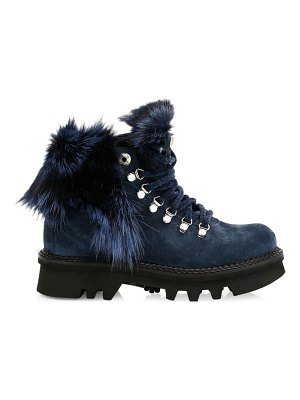 MONTELLIANA aurora fox fur-trim, shearling-lined suede hiking boots