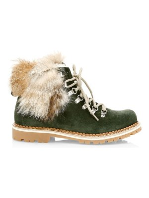 MONTELLIANA clara fox fur-trim, shearling-lined suede hiking boots