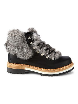 MONTELLIANA clara rabbit fur-trim & shearling-lined leather hiking boots