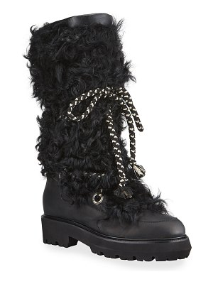 MONTELLIANA Mary Tall Shearling Lace-Up Boots