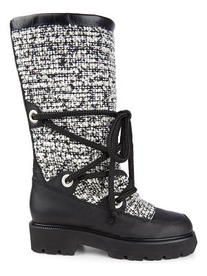 MONTELLIANA mary tweed & leather mid-calf boots