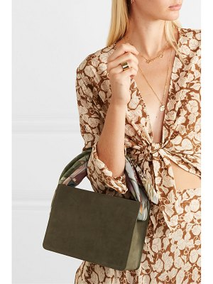 Montunas guaria printed satin-trimmed nubuck and linen tote