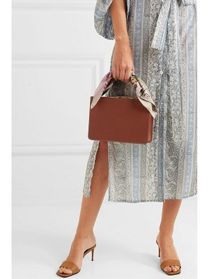 Montunas guaria printed satin-trimmed leather and linen tote