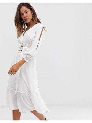 Moon River belted midi dress-white