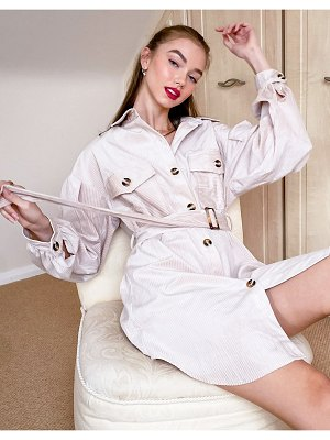 Moon River belted shirtdress in ecru-white