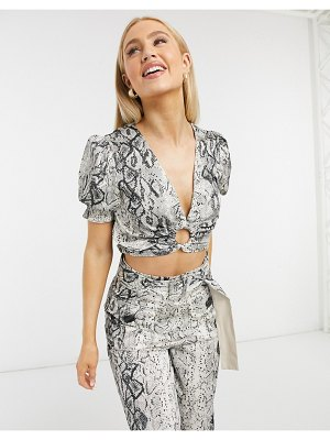 Moon River crop top with ring detail in snake print-brown